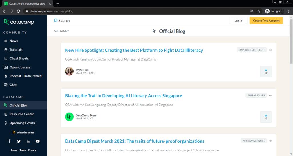 Screenshot of the DataCamp computer science blog