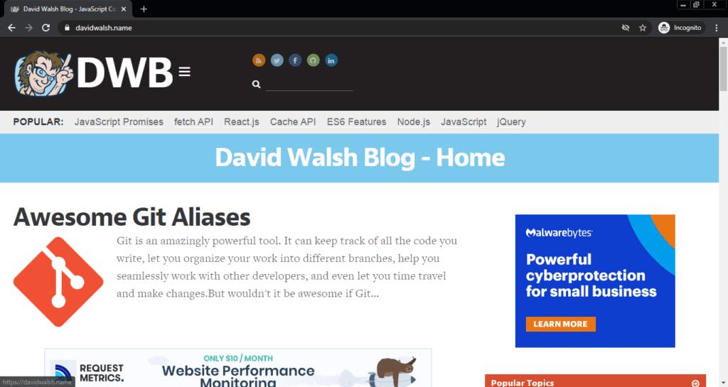 Screenshot of the David Walsh computer science blog