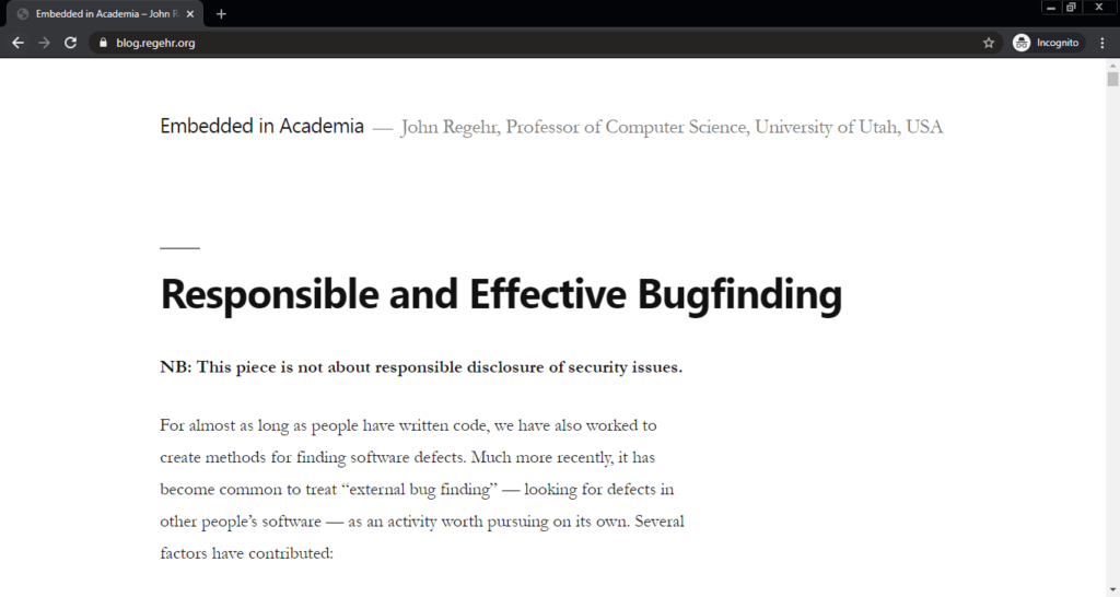Screenshot of the Embedded in Academia computer science blog
