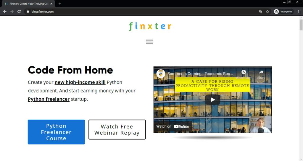 Screenshot of the Finxter computer science blog