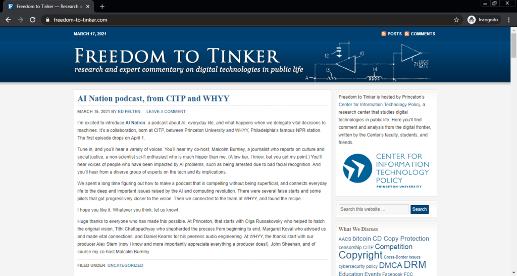 Screenshot of the Freedom to Tinker computer science blog