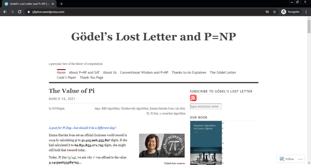 Screenshot of the Gödel's Lost Letter and P=NP computer science blog