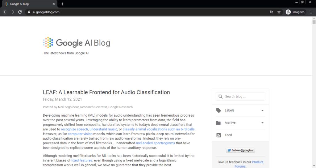 Screenshot of the Google AI computer science blog