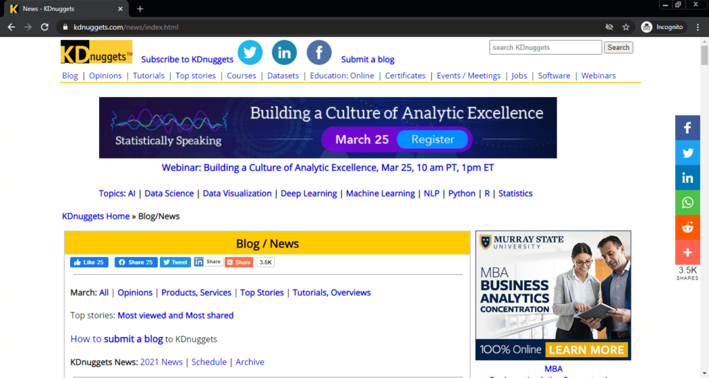 Screenshot of the KDnuggets computer science blog