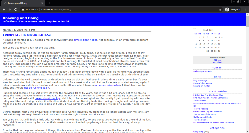 Screenshot of the Knowing and Doing computer science blog