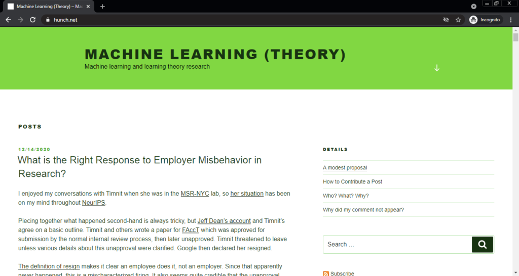 Screenshot of the Machine Learning (Theory) computer science blog