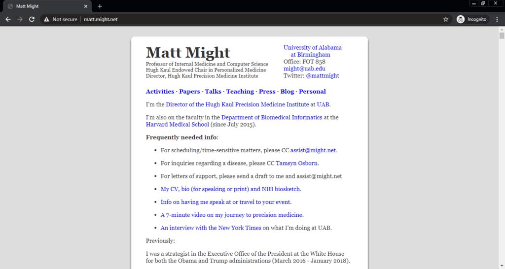 Screenshot of the Matt Might computer science blog