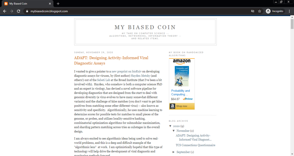 Screenshot of the My Biased Coin computer science blog