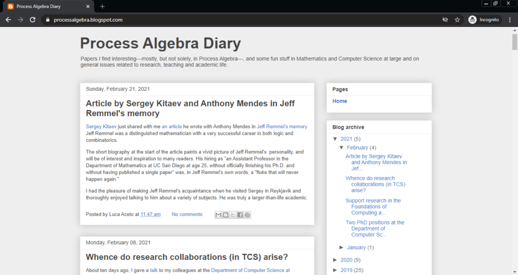 Screenshot of the Process Algebra Diary computer science blog