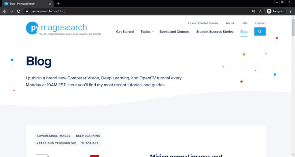 Screenshot PyImageSearch computer science blog