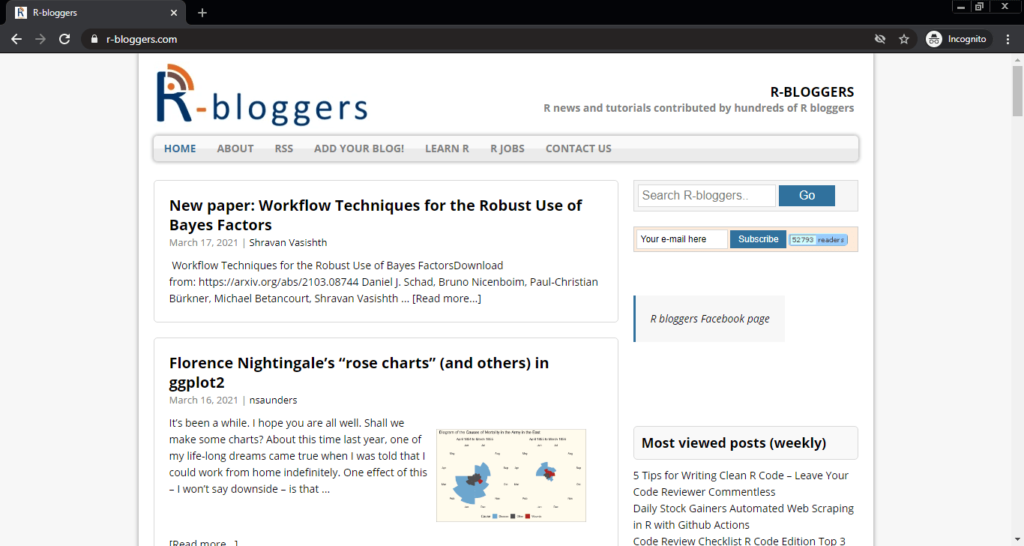 Screenshot of the R-bloggers computer science blog