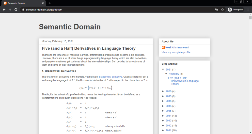 Screenshot of the Semantic Domain computer science blog
