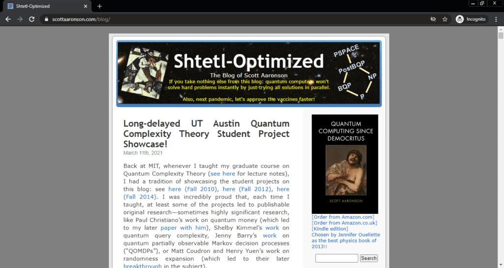 Screenshot of the Shtetl-Optimized computer science blog