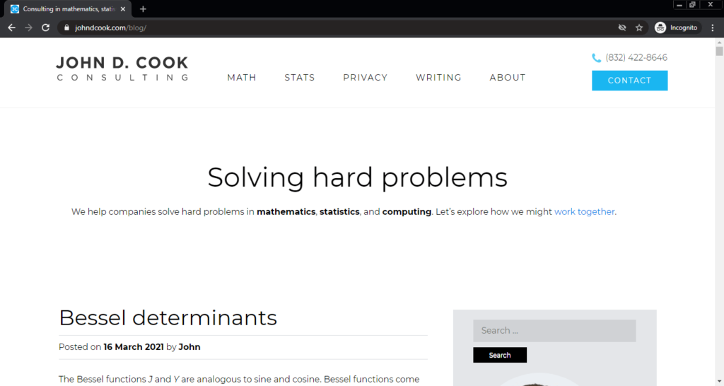 Screenshot of the Solving Hard Problems computer science blog