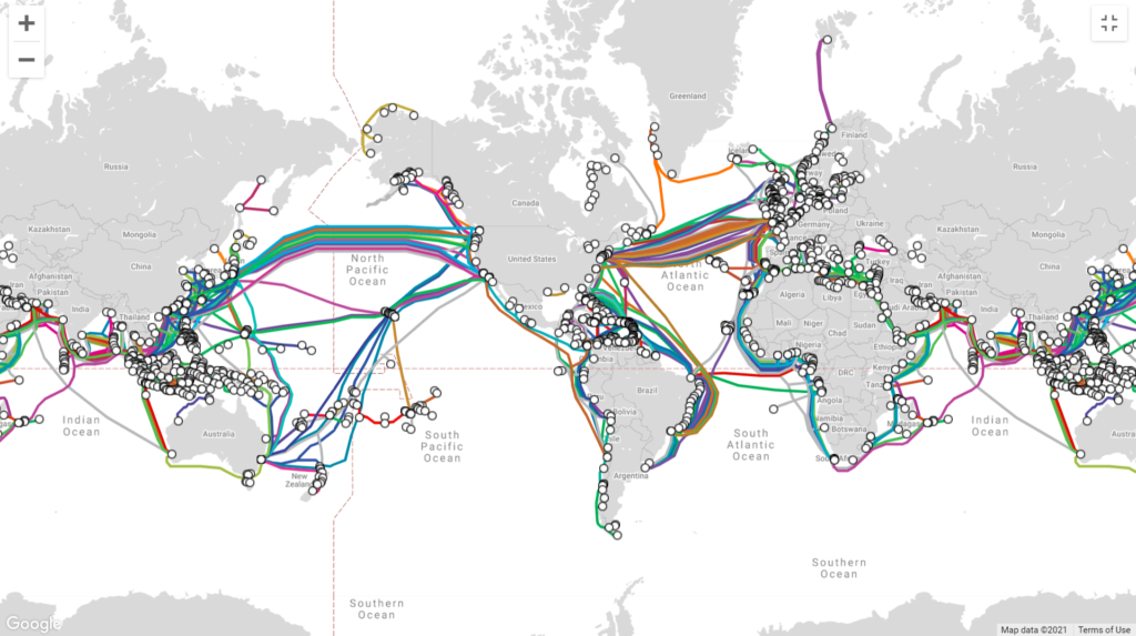 Screenshot of the submarine cable map