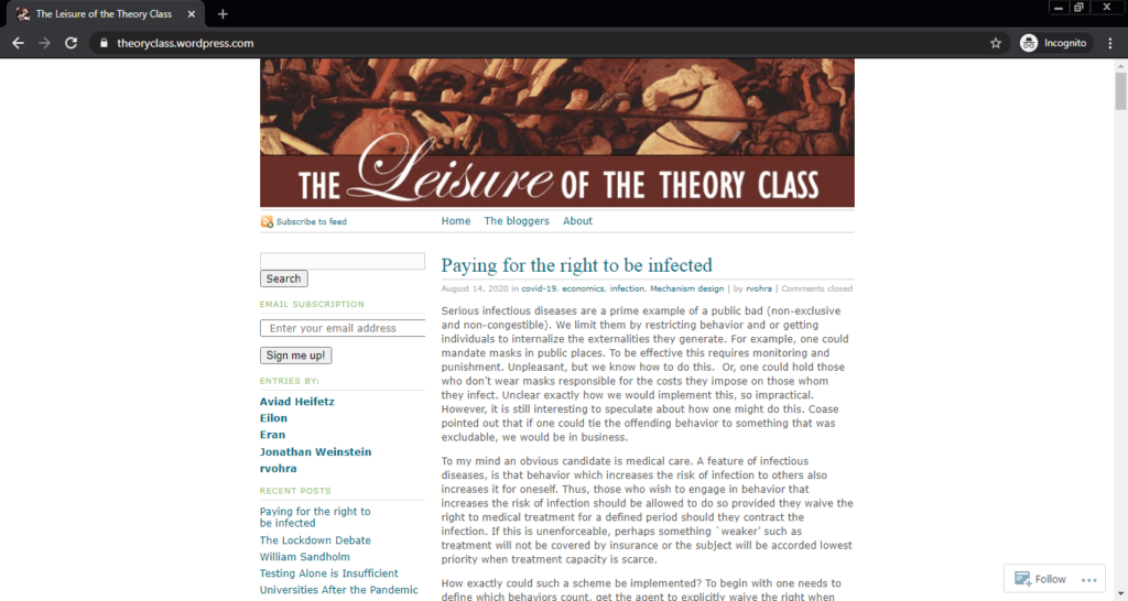 Screenshot of The Leisure of the Theory of Class computer science blog