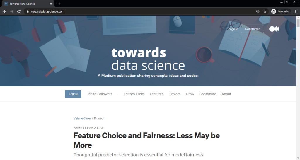 Screenshot of the Towards Data Science computer science blog