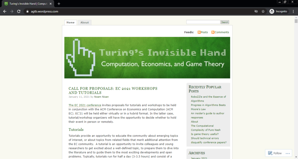 Screenshot of the Turing's Invisible Hand computer science blog