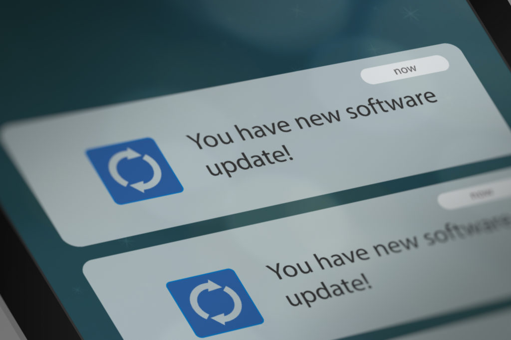 Software update notification on smart phone.