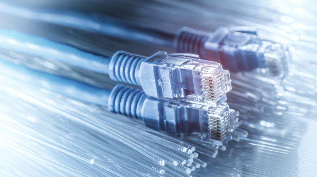Three ethernet cables with fiber optics.