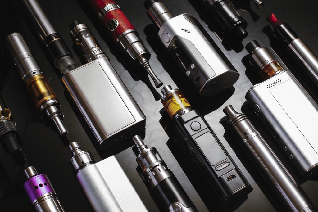 Popular vaping devices and e-cigarettes.