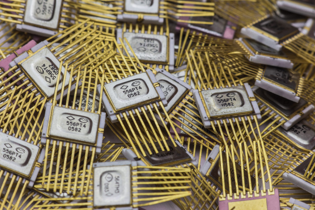Vintage military goldplated microchip.